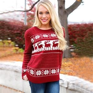 Christmas Snowflake Winter Womens Ladies Warm Brief Sweaters 2