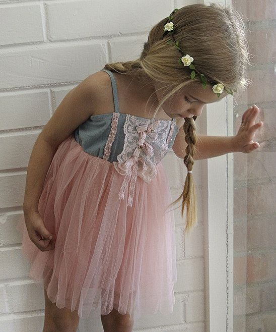 Pink & Denim Lace & Tulle Dress