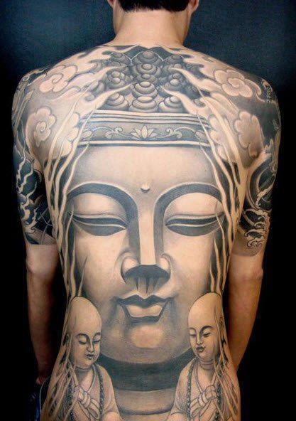 Wow // Full back piece // Black and grey Buddha tattoo