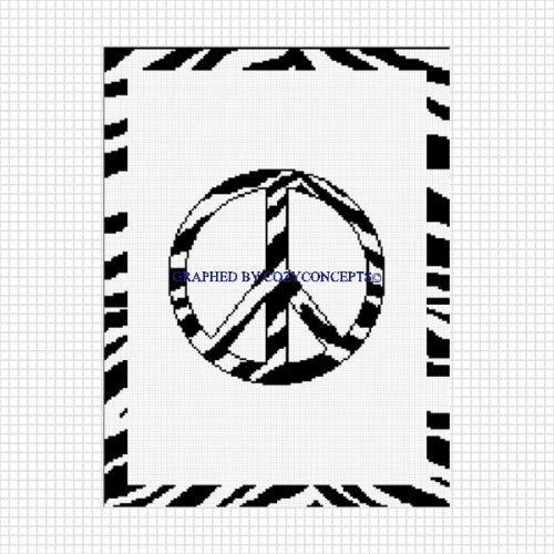 COZYCONCEPTS PEACE SIGN ZEBRA PRINT CROCHET AFGHAN PATTERN GRAPH