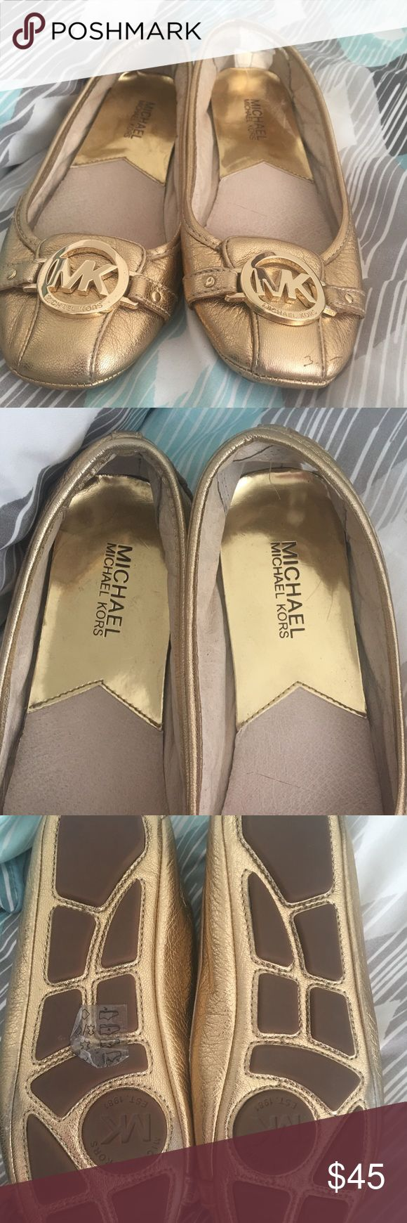 Michael Kors Gold Metallic Ballet Flat size 7 These are in gently used condition. Have been just sitting in my closet. Purchased for $150! Size 7 Michael Kors Shoes Flats & Loafers