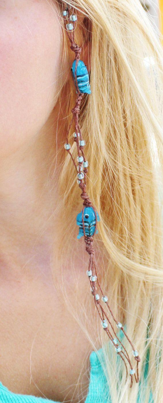 Blue Beaded Hair Extension, Blue Fish Beads, Hemp Hair Extension