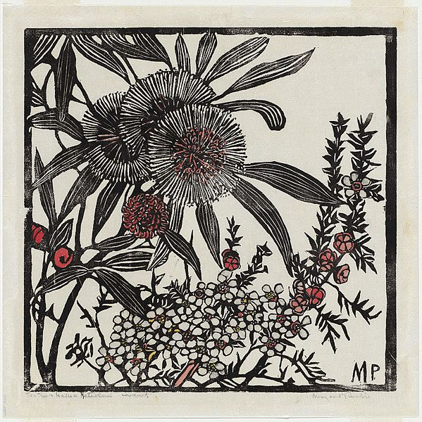 Margaret PRESTON, Tea-tree and Hakea petiolaris, 1936. Relief Woodcut, hand-coloured.
