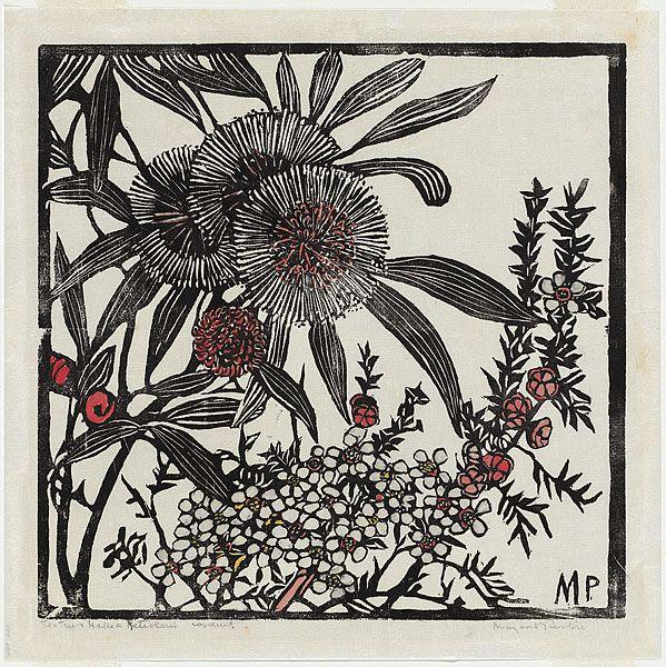 Margaret PRESTON, Tea-tree and Hakea petiolaris, 1936. Relief Woodcut, hand-coloured.