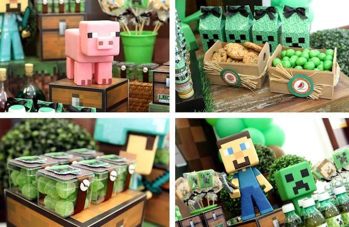 Minecraft Themed Birthday Party Tween com tantas ideias incríveis via Partido Idéias KarasPartyIdeas.com #partyideas #minecraftparty #tweenparty de Kara (6)