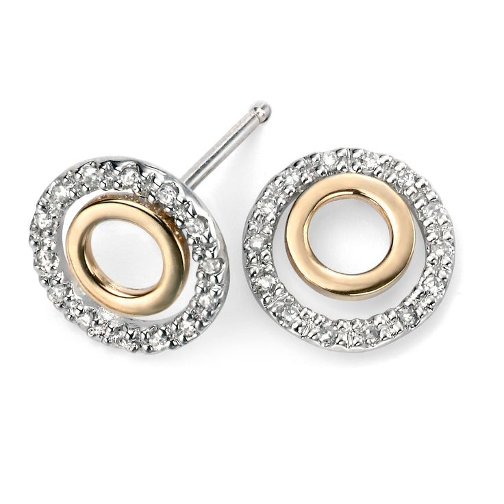 Hallmarked 9ct Yellow Gold & White Gold Open Round Studs with Diamonds - These elegantly designed earrings from the Elements Gold collection are expertly crafted from hallmarked 9ct mixed gold in an enchanting and everlasting style: http://ow.ly/Xy52m
