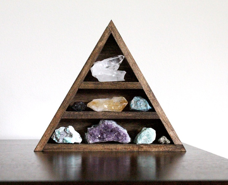 Reserved stone set and triangle wood curio shelf crystal mineral set no 7 rocks shelves - Triangular bookshelf ...