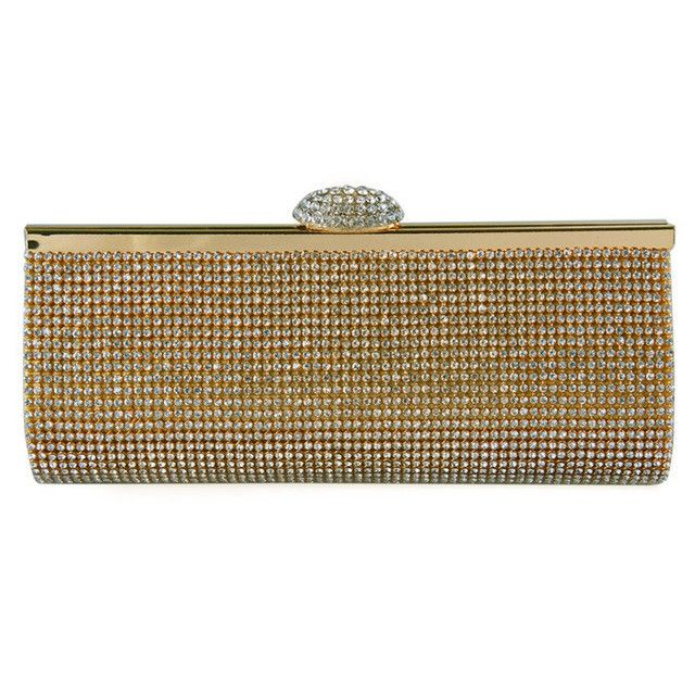 ECOSUSI New Sophisticated Crystals Evening Bag Rhinestones Clasp Flap Women Clutch Bags Baguette Wallets wholesale Purse Party