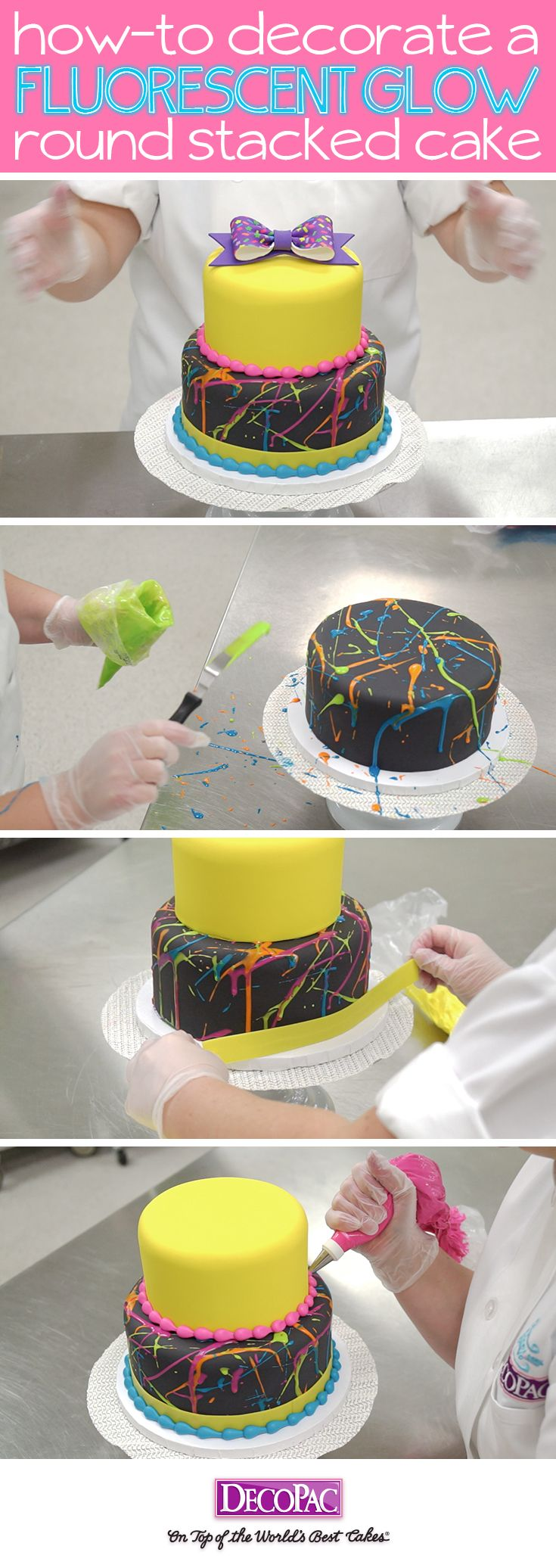 Learn how to make this trendy neon splattered cake with ready-to-place Gum Paste Bows.
