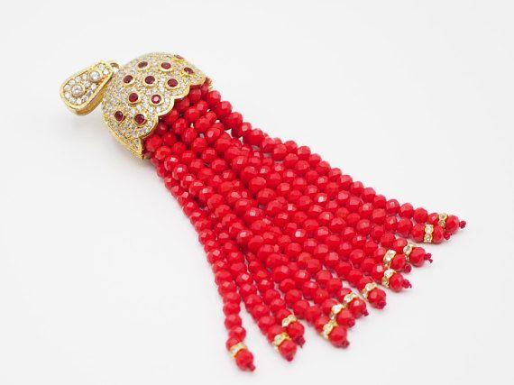 Tassel Pendant with Red Crystal Stone Jewelled Turkish