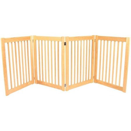 """Legacy 4 Panel Outdoor Pet Gate. Features:   32"""" Tall   1 3/4"""" spacing between spindles   4-panel design perfect for doorways up to 72""""    Solid White Oak hardwood construction   Stainless steel double action hinges   Handcrafted in the U.S.A.   Legacy Collection Freestanding Outdoor Pet Gates bring all new functionality to pet gates. These 4 panel outdoor pet gates are constructed of White Oak hardwood, tough wood ideal for outdoor use that won't easily scratch or dent. The..."""