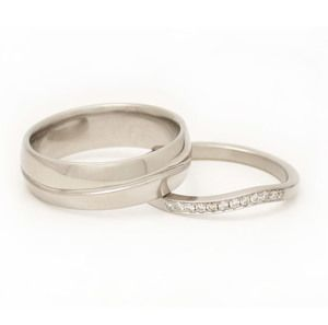 Engraved Wave Band + Partial-Pave Wave Ring