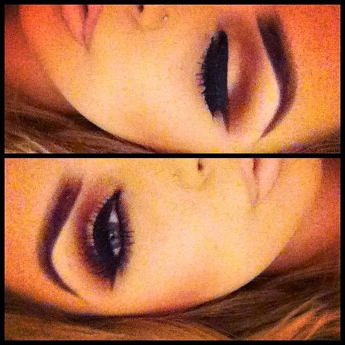 Dramatic brow with matching lid/brow highlighter and defined orbital bone