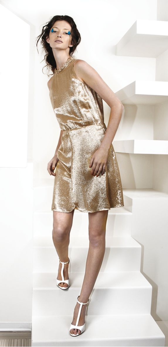 metallic gold silk dress