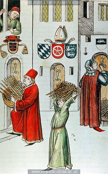 Konzil von Konstanz  Geweihte Kerzen werden verteilt  (Distributing Votive Candles)     Dieses Bild: 006706    1465 ; 1475 ; Wien ; Österreich ; Wien ; Österreichische Nationalbibliothek ; cod. 3044 ; fol. 58r