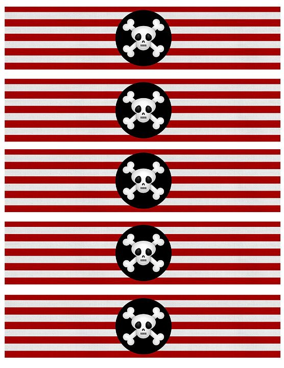 FREE Pirate Party Water Bottle Covers at www.facebook.com/dancingfrogdesigns