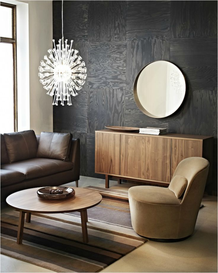 Ikea Stockholm Collection 2013-Some fantastic use of colour. This shot I love the ply paneling stained dark on the walls. Amazing!