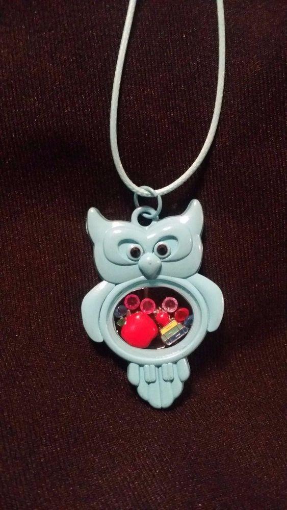 Teacher Themed Living Memory Locket Floating Charm Light Blue Owl Necklace #Unbranded #Chain