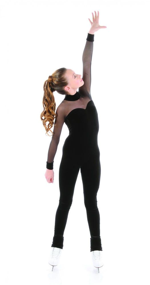 New Competition Skating VELVET 1 PIECE WITH BLACK MESH SLEEVES XPSport1656 8-10 #EliteXpression