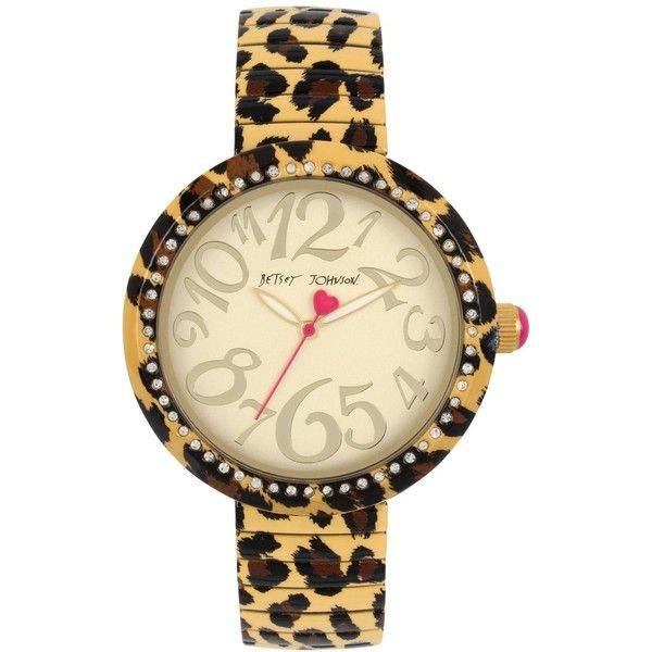 Betsey Johnson Women's Brown Leopard Printed Stainless Steel Bracelet... (751.950 IDR) ❤ liked on Polyvore featuring jewelry, watches, leopard, brown wrist watch, brown jewelry, stainless steel wrist watch, stainless steel jewellery and brown watches