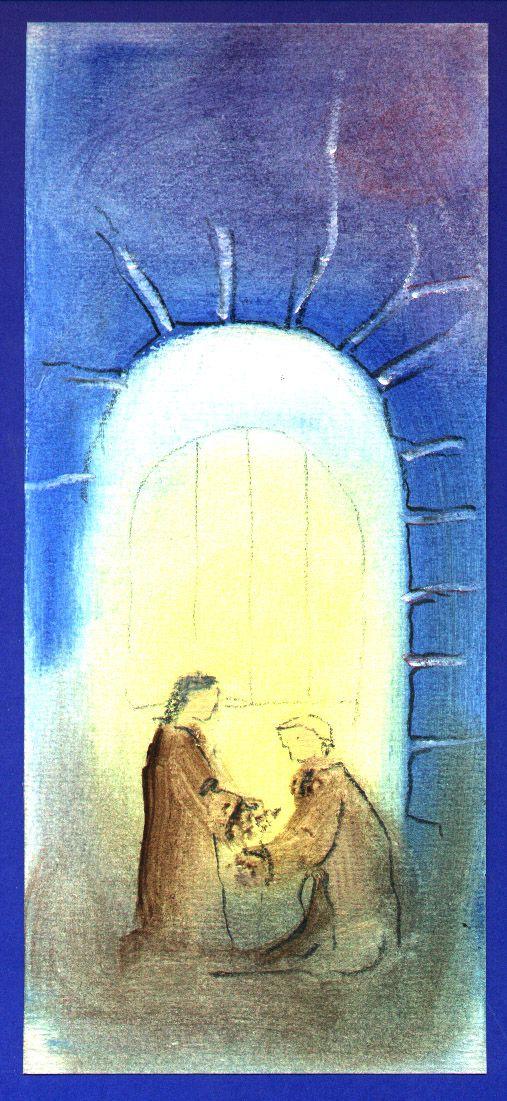 Snelle schets voor getuigschrift; olie op papier: Josef
