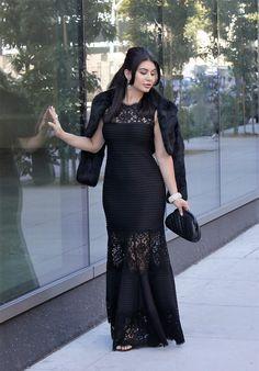 Wedding Season   Tadashi Shoji Gown, Black Lace Dress, Chanel Clutch, Celine Heels, Fur Bolero, Wedding Outfit, Black Tie Women's Outfit, San Francisco Wedding