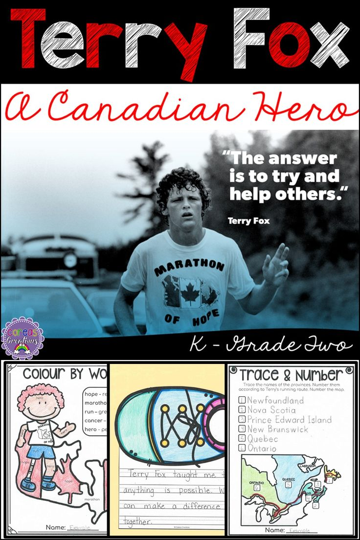 All about Terry Fox - Kindergarten to Grade Two. Your students will learn all about his life and contribution to cancer research.