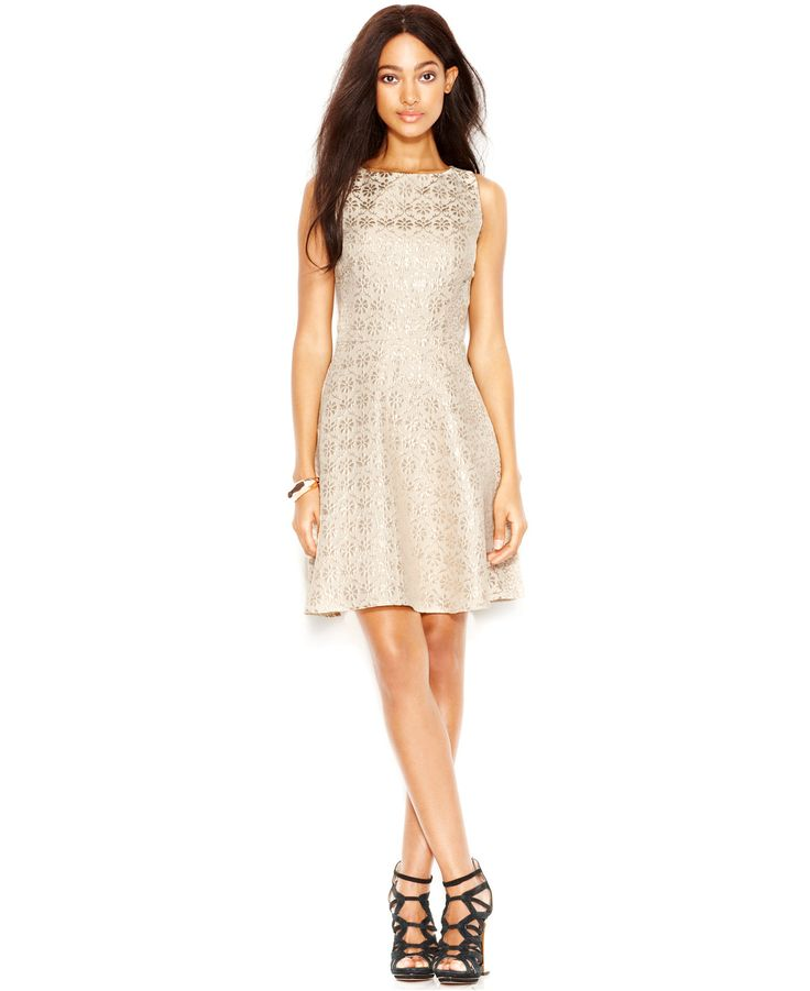 Jessica Simpson Metallic Floral Brocade Dress - Dresses - Women - Macy's