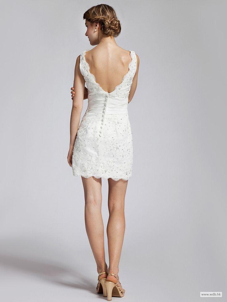 wedding shower V-neck Jeweled Lace Little White Dress $159.99