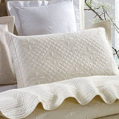 Eider Ivory Roopville Luxury Pure Cotton Quilted Pillow Sham Wayfair In 2020 Quilted Pillow Shams Quilted Pillow Pillows