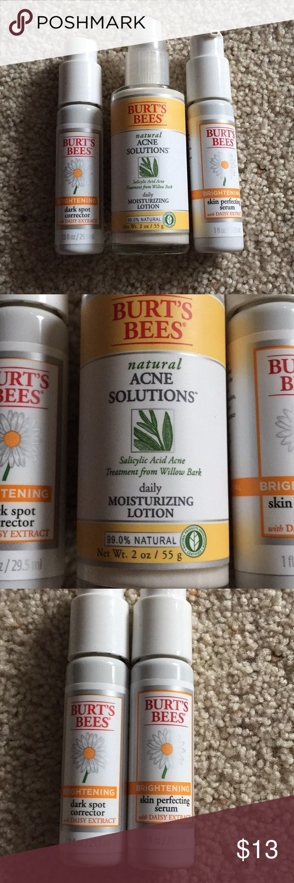 Bundle Burts Bees Face products Acne solutions daily moisturizer lotion (2oz) 3/4 full, 2 dark spot corrector (1oz) 1 Bottle almost full and the other is half way. Burts Bees Other