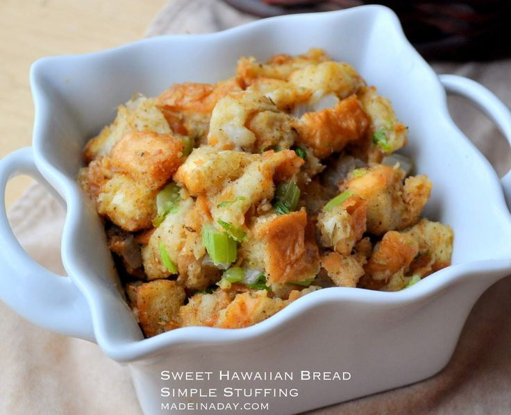 A simple base stuffing made with King's Hawaiian Classic Stuffing mIx. Great sweet version of the holiday favorite.