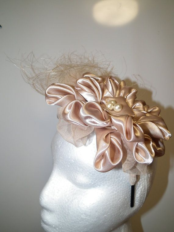 Lux Supreme ..Designer couture head piece Neutral fascinator by WattMillineryBling, $241.00