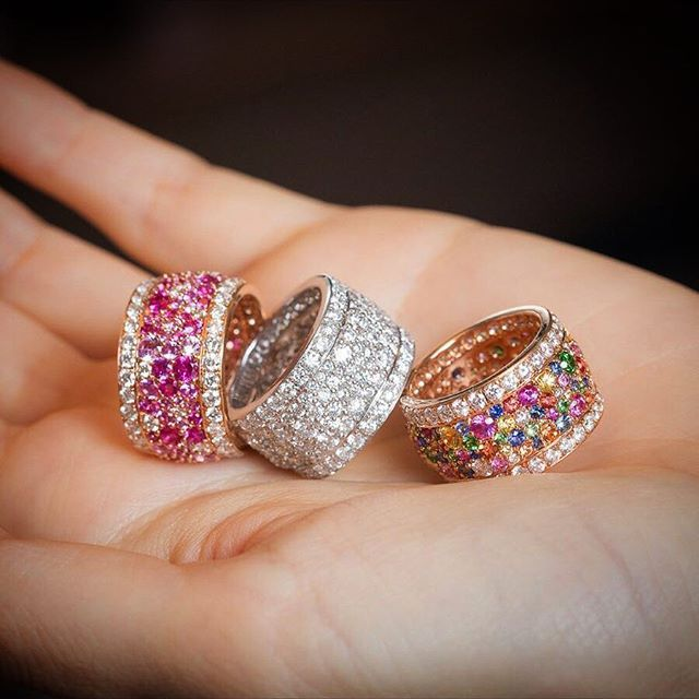 VanLeles. The white, pink, and multicolour Legends of Africa rings feature over 100 fair-mined diamonds and gemstones and are available in the atelier now. @katerina_perez