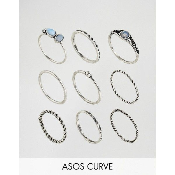 ASOS CURVE Pack of 9 Moon Stone Twist Rings (€16) ❤ liked on Polyvore featuring jewelry, rings, plus size, silver, asos curve, stone jewelry, party jewelry, stone jewellery and twist jewelry