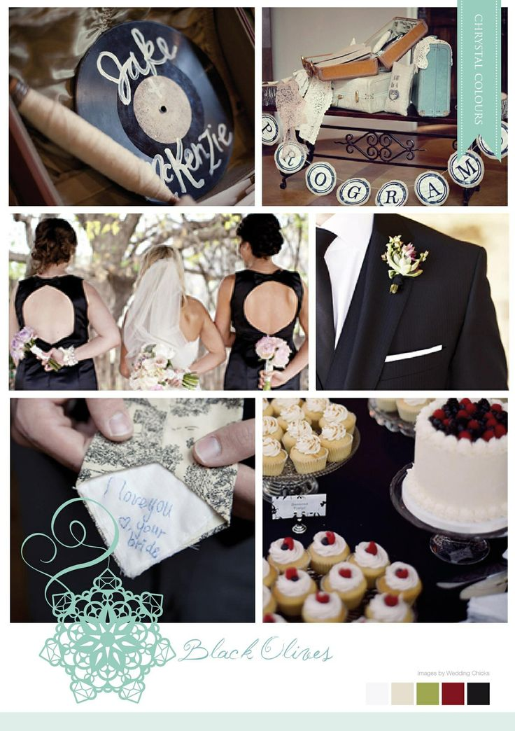 Retro inspired black and white mood board made by Chrystalace Wedding Stationery.