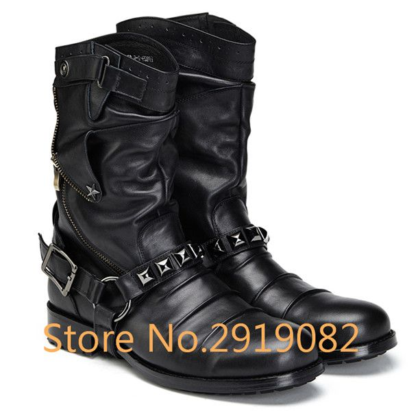 ==> [Free Shipping] Buy Best New Arrival Retro Fashion Trend Martin Men Boots Mid-Calf Buckle Strap Tooling Boots Metal Decoration Military Boots Round Toe Online with LOWEST Price   32800388430