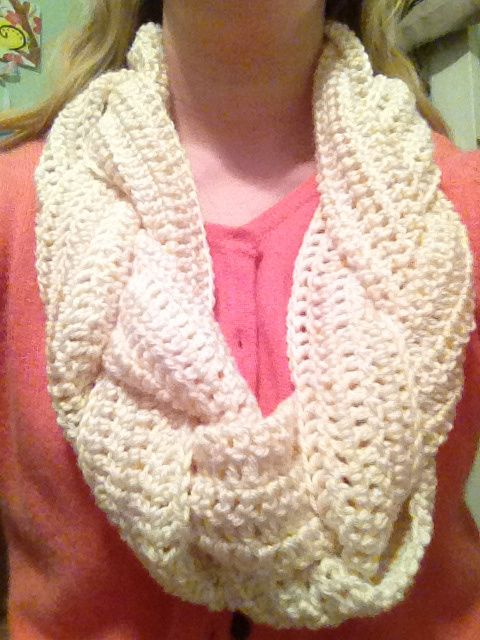Braided crochet infinity scarf- bet you could do knit instead of crochet.