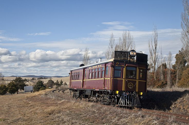Rail motor No 22 of the Cooma - Monaro Railway, photo by Martin Bennet.  Some of these used motors from D-Day landing craft.