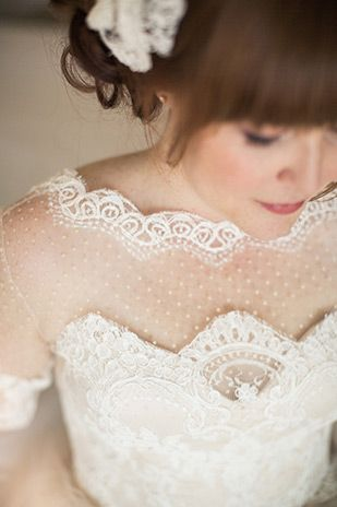 beautiful polka dot tulle and lave wedding dress | www.onefabday.com