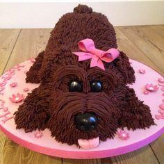 Chocolate dog shape cake