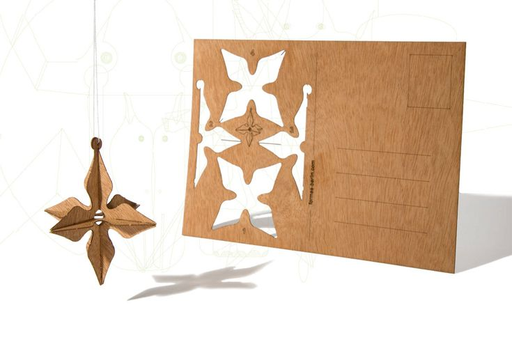 postcard wood - one 3d star card