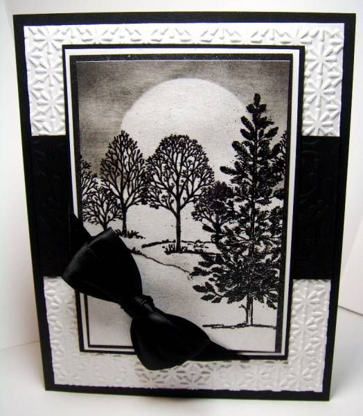 Embossed background, sponged area for negative white moon, Lovely As A Tree stamps.