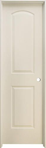 "Mastercraft® Primed Smooth Arched Raised 2-Panel Prehung Interior Door at Menards®: Mastercraft® 24"" W x 80"" H Primed Smooth Arched Raised 2-Panel Hollow Core Prehung Interior Door - Left Inswing"