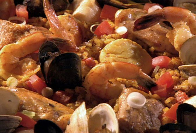Chicken and Seafood Paella Recipe : Guy Fieri : Food Network - FoodNetwork.com