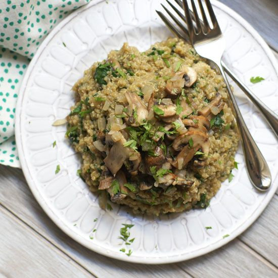 "Mushroom & Spinach Quinoa ""Risotto."" Compared to traditional risotto, this vegan dish takes half the time to prepare and packs a heftier dose of protein!"