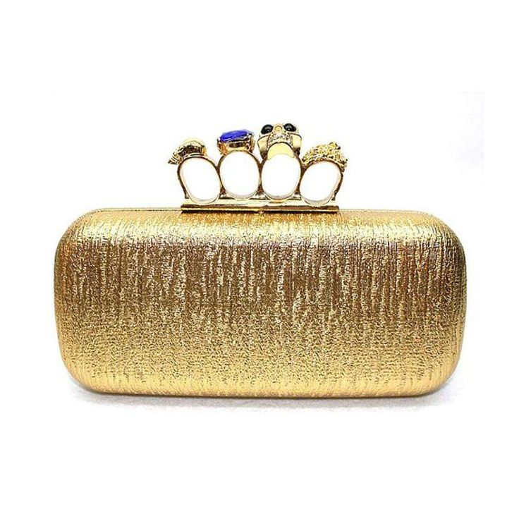 2017 Knuckle Ring Gold Clutch Bag Women Day Clutches Skull Purse Evening Bags With Shoulder Chain Punk Wallet Handbag EB092