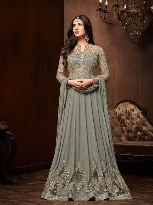 4fb8f0e899 ... sonal chauhan style grey gown suit online which is crafted from crepe  fabric with exclusive zari embroidery and stone work. This stunning designer  gown ...