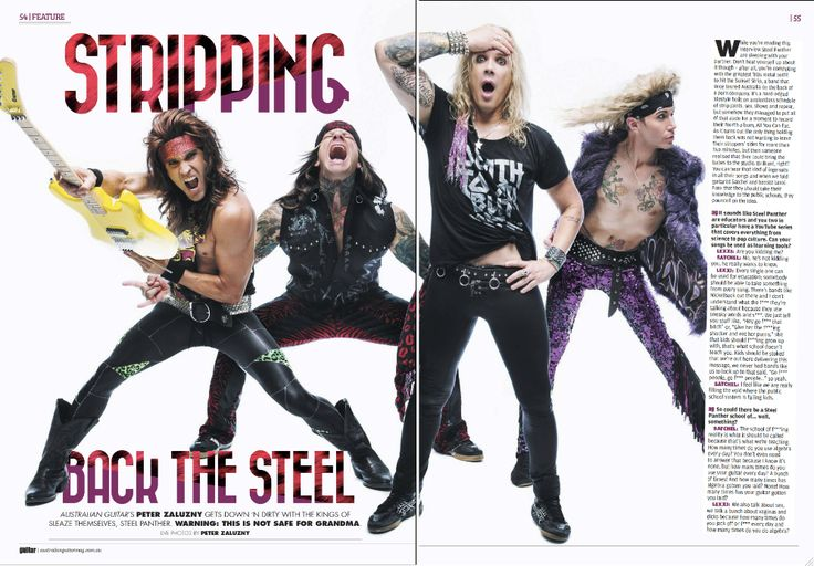 Steel Panther - Australian Guitar four page spread!
