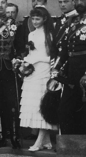 Alix (the future Empress Alexandra Feodorovna of Russia) as a 13-year-old girl at her aunt Beatrice's wedding, 1885.